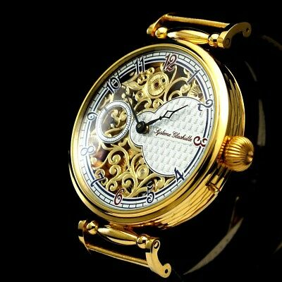 Vintage Mens Wristwatch Systeme GLASHUTTE Gold Skeleton Men's Wrist Watch German