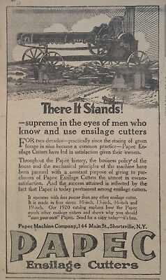 1920 Ad.(Xd3)~Papec Machine Co. Shortsville, Ny. Papec Ensilage Cutter