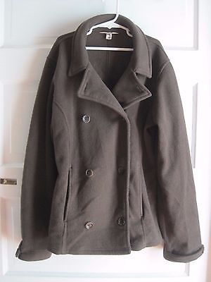 Lands End Kids Girls Chocolate Brown Fleece Double Breasted Peacoat Jacket XL 16