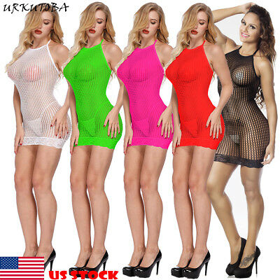 US Sexy Women Sleeveless See-Through Hollow Out Mesh Fishnet Short Mini Dress