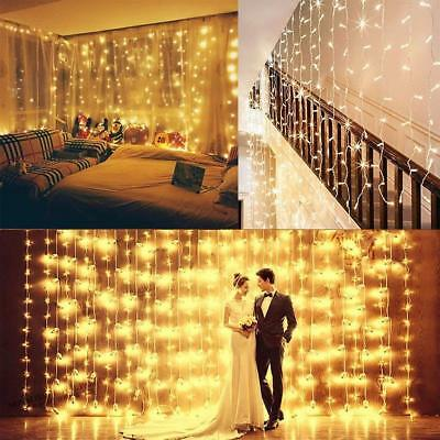 3Mx3M 300 LED Window Curtain Icicle String Fairy Lights Wedding Party Decor