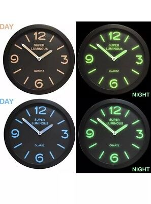 "12"" Glow In The Dark Round Novelty Wall Clock Hanging Bedroom Home Office BLUE"