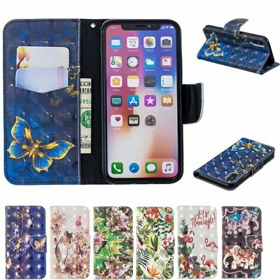 Printed PU Leather Magnetic Wallet Cover Case For iPhone 7/7S/8/8S/X/XR/XS MAX