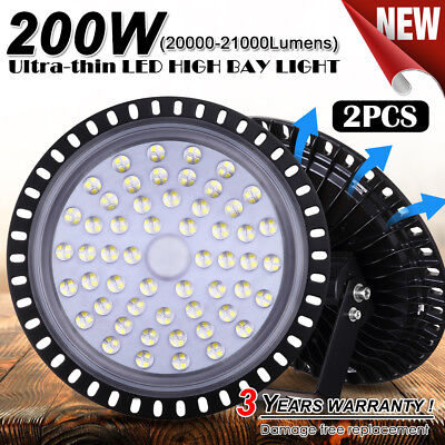 New 2X 200W UFO LED High Bay Light Lamp Factory Warehouse Gym Industrial Shed