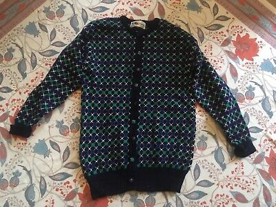 Beautiful vintage boho hand knitted chunky wool cardigan 60's 70's Welsh Jumper