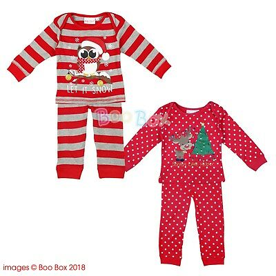 Baby Toddler Christmas Pyjamas Owl Reindeer Red Pattern 6-24 Months