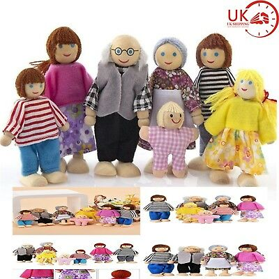 7 Persons Doll Family Wooden Sweetbee People House figures flexible Dolls Gifts