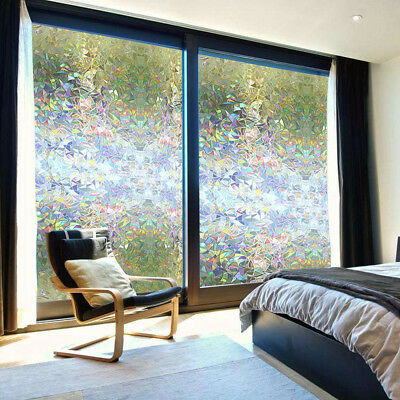Non Adhesive 3D Privacy Window Films Sticker Static Cling Reusable Glass Film US