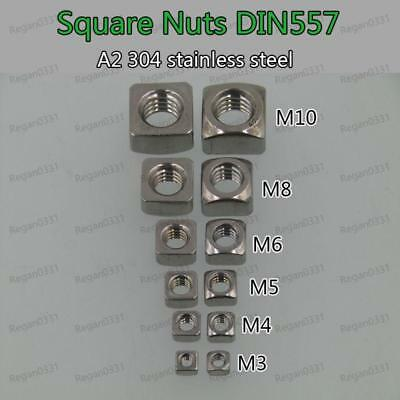 M3 M4 M5 M6 M8 M10 Square Nuts A2-70 304 Stainless Steel 1/2/5/10/20/50/100pcs