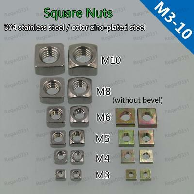 M3 M4 M5 M6 M8 M10 Square Nuts Stainless Steel & Square Thin Nuts Color-zinc