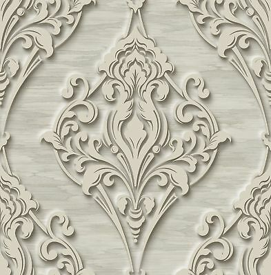 Ornate Ogee Wallpaper with Glitter in Greige DS60316 by Wallquest