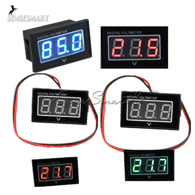DC 2.7-30V Digital Waterproof Voltage Voltmeter Meter Red/Blue/Green For Car