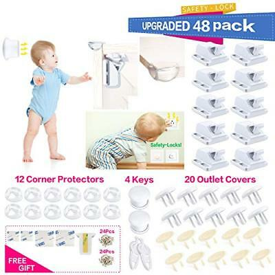 Baby Proofing|48 Pcs Magnetic Cabinet (Cabinet Drawers Furniture Socket Kit)