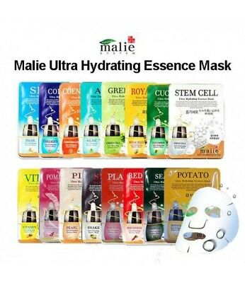 Korea Beauty Cosmetic [Malie] 16 Types Essence Face Mask Pack Sheet 0.88oz 25g