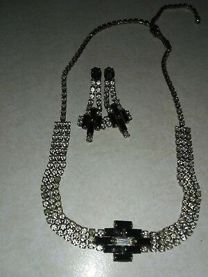 Authentic 1920s Vintage Art Deco Rhinestone Choker With Earrings