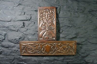 Pair of Antique Carved Oak Panels ~ Flower Carving ~ Decorative Wall Display