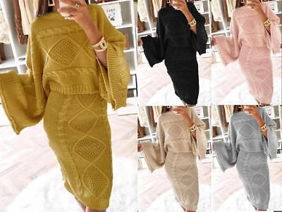 Cable Knit Co-Ord 2 Piece Loose Sleeve Set Midi Skirt Knitted Jumper Top Batwing
