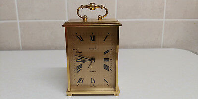 Vintage Swiza battery operated carriage alarm clock brass solid made 1970/80