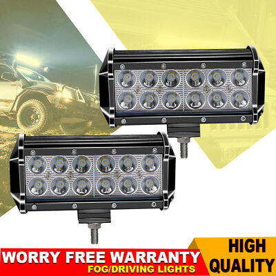 "2X 7"" inch 36W Dual-Row LED Pods Work Light Bar Spot Beam Chevy UTE Van VS Flood"