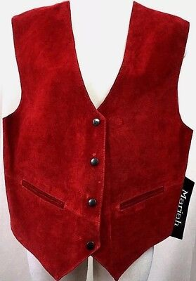 Vintage Mariah MPW Womens Vest Red Suede Leather Waistcoat Snap Btn Xmas Size 2X