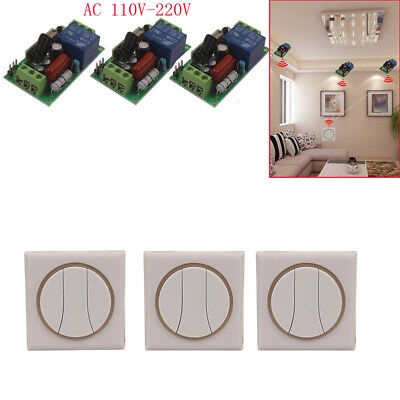 110V 220V 3 Way Remote Switch Wall Panel Home Garage Light Fans Wireless Switch