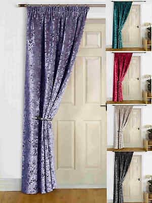"""Thermal Lined Door Curtain """"Rajpur"""" Crush Velvet Self Lined & Pencil Pleat"""