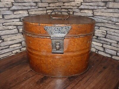 Stunning Antique Victorian Metal Painted Wood Grain Hat Box, Shop Cafe Bar Decor