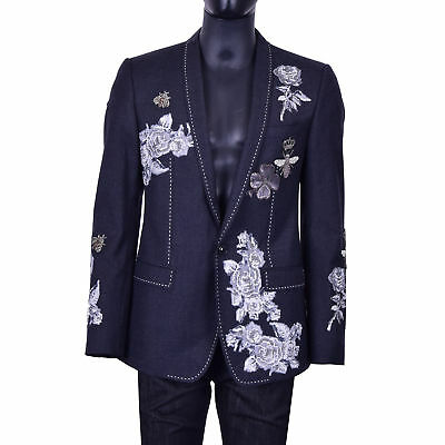 DOLCE & GABBANA MARTINI Roses Crowns Bees Embroidered Blazer Jacket Gray 07035
