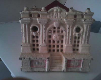 Antique Cast Iron White City Still Bank w/ Red Roof and Clockface by Grey IronCo