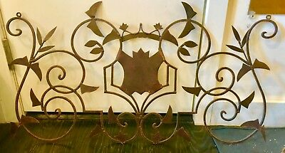 Vintage French Wrought Iron fence headboard