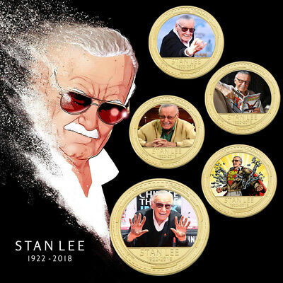 WR 1922-2018 Stan Lee Excelsior Gold Commemorative Coin Marvel Comics Souvenir