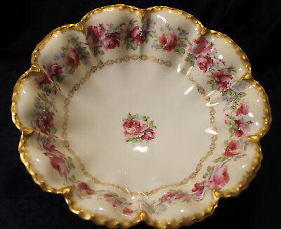 Absolutely Stunning!! Enamelled Haviland  American Beauty Rose Footed Bowl