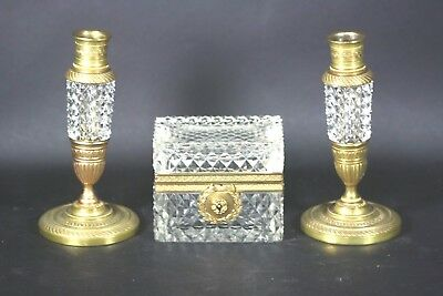 Antique French Crystal Glass Trinket Jewelry Box Pr Candlestick Ormolu Bronze NR