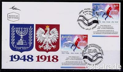 Israel Poland 2018 Joint Issue Both Stamps Ips Fdc With Tabs