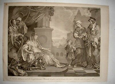 LARGE 19th century engraving after HOGARTH Religious scene MOSES - T COOK 1801