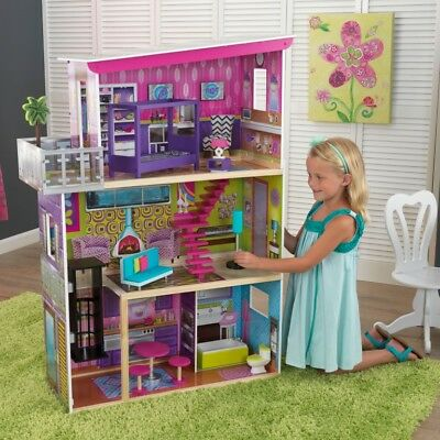 Super Model Dollhouse Kids Playhouse Set Girls Doll House Toy Play Accessories