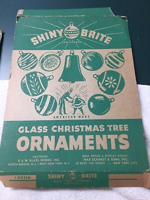 Dozen Used Variety Shiny Brite Ornaments Original Box - Frosted  And Flower