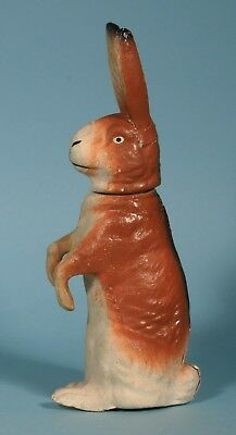 Vintage GERMAN PAPER MACHE CANDY CONTAINER 10.5 Inches BUNNY RABBIT