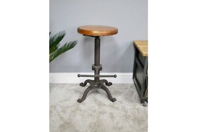 Industrial Reclaimed Wood With Cast Iron Base - Footrest - Adjustable Height