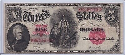 Series 1907 Five Dollars $5 US Large Size Note - Woodchopper