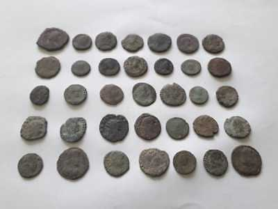 Beautiful Lot Of 35 Ancient Roman Bronze Coins For Cleaned