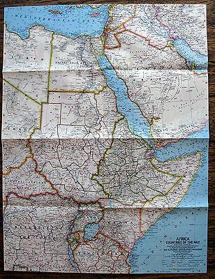 Africa Countries of the Nile  National Geographic Map / Poster October 1963