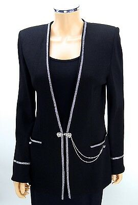 ST JOHN EVENING Glamour Skirt Suit SIZE 6 Black Crystals Chains Santana Knits