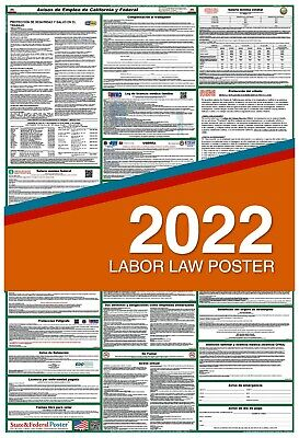 2019 SPANISH California State and Federal Labor Law Poster LAMINATED