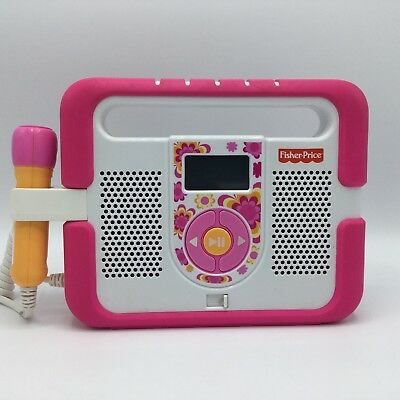 Fisher Price Kid Tough MP3 Music Player Microphone Karaoke Pink Stereo Boombox