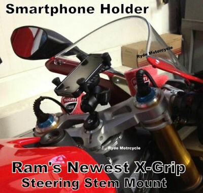 RAM Motorcycle Fork Stem X-Grip Mount Smaller Cell Phone Holder iPhone Samsung