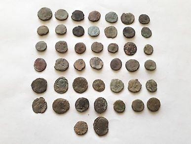 Lot Of 44 Ancient Roman Bronze Coins For Cleaned
