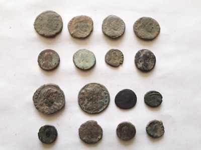 Beautiful Lot Of 16 Ancient Roman Bronze Coins For Cleaned