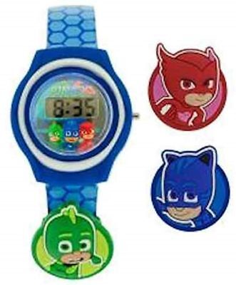 PJ Masks Flashing Charm & Dial LCD Kids Light Up Watch New Blue Charms