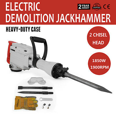 1850W Electric Demolition Hammer Drill Concrete Breaker 2 Chisels Jackhammer
